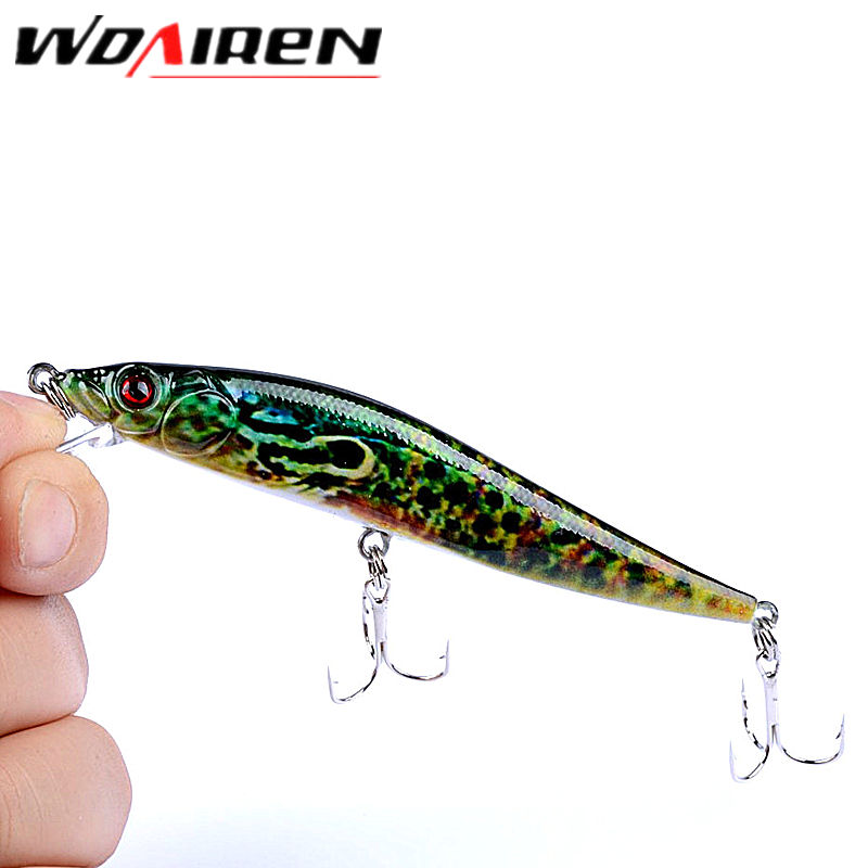 1Pcs Swing bait Fishing Lure 10cm 10g lifelike Minnow Crankbait Hard Bait High Wobble Fishing Tackle Lure Jerkbait 3D Eyes YR412 lifelike minnow fishing lure 1pcs 9 5cm 11 2g high quality treble hook artificial hard bait treble hook crankbait with 3d eyes
