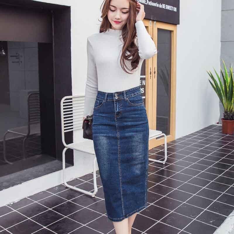 hower Women Denim Jeans Dress Midi High Waisted Pencil Skirt Plus Size