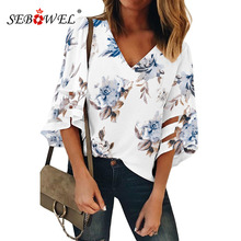 SEBOWEL Bell Sleeve Floral Chiffon Blouses Shirts for Woman Summer Print Pattern Tops Female V-sexy Plus Size Blouse Shirt S-XXL fashionable women s round neck bell sleeve blouse floral print skirt