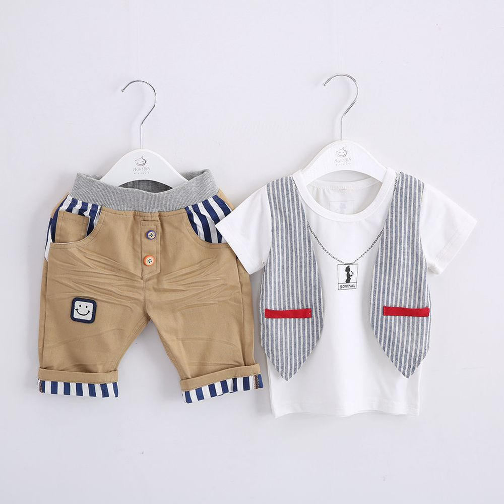 Anlencool 2017 summer new boy fake piece casual short-sleeved suit  free shipping newborn baby boys clothing two pecese