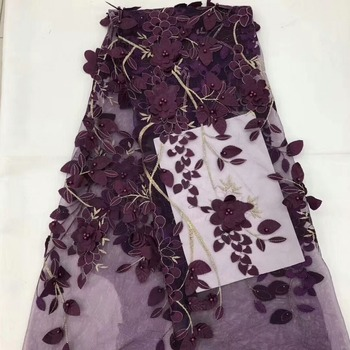 Wholesale price 3d flowers floral embroidery lace fabric 5 Y beaded african lace deep wine net lace BC02