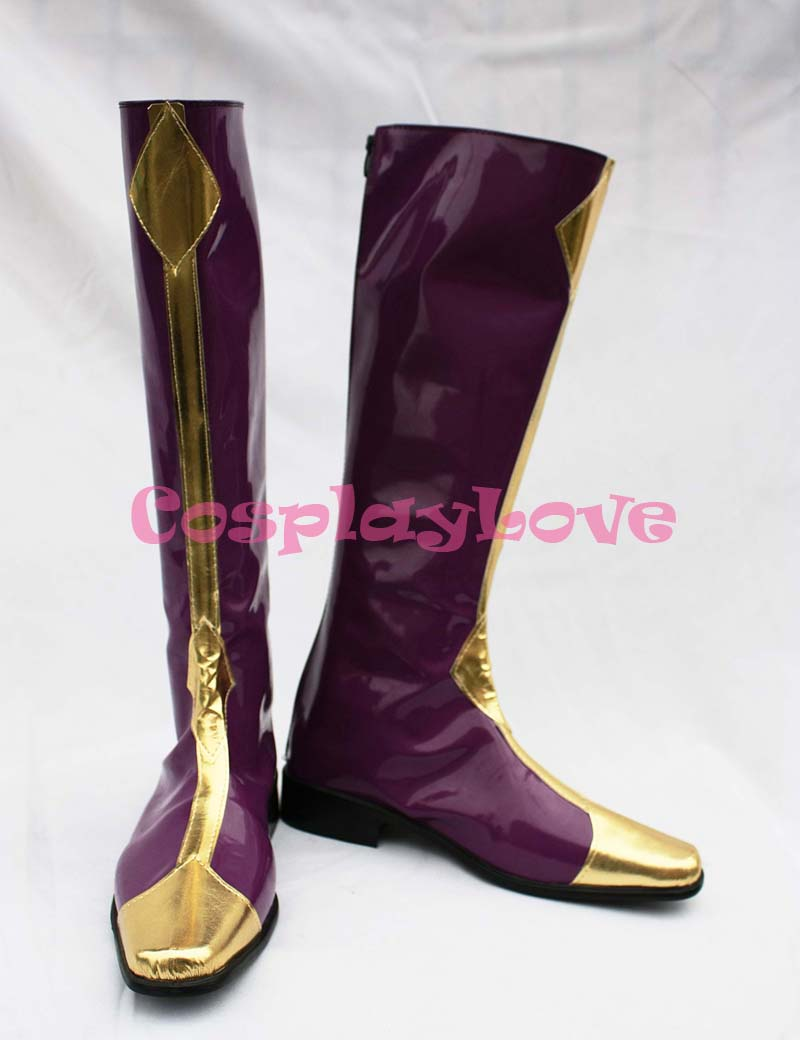 Code Geass Cosplay Lelouch Zero Purple Cosplay Shoes Boots Hand Made Custom-made For Halloween Christmas CosplayLove