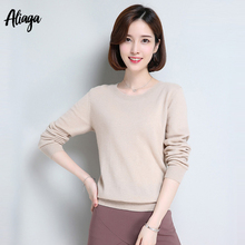 1825aff90 Spring Autumn New 100% Pure Cashmere Sweater Women Pullover Long Sleeve  Knitting O Neck Oversized Casual Female Fashion Jumper