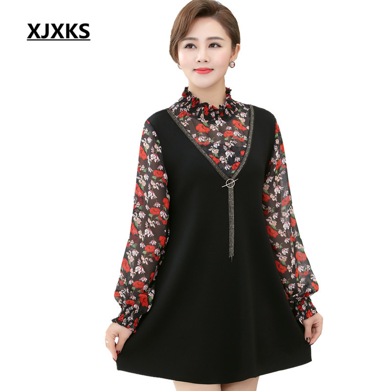 0da5f6d136d6 XJXKS Casual Style Beautiful Mother Clothing Women Turtleneck Dresses  Spring Beading Fake Two Pieces Dress For Womens