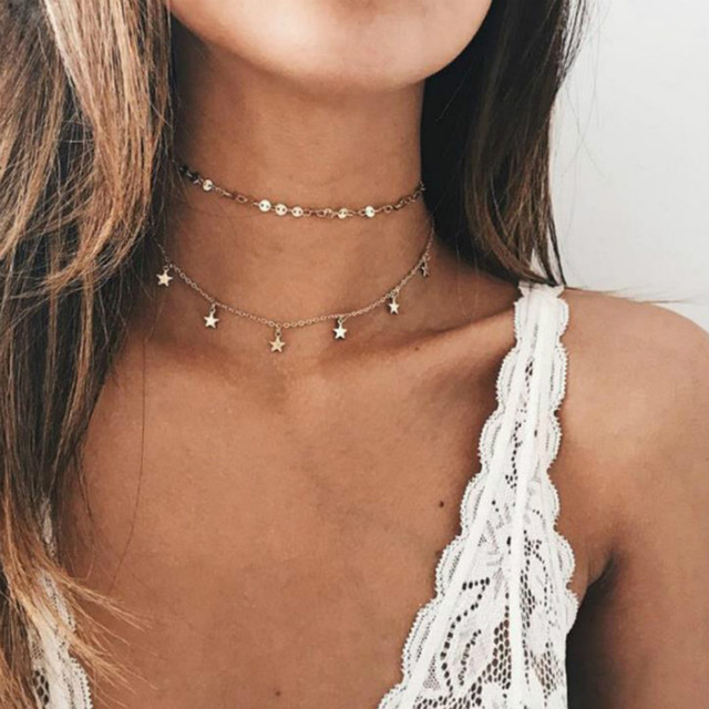 2017 Multi Women star Gold Chain coin Choker Necklace chocker Jewelry collana Bi