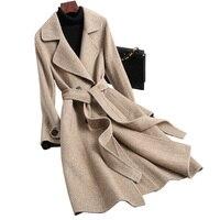 Осенне весенняя куртка женская куртка Корейская Шерсть альпака пальто Женская куртка винтажная Двусторонняя шерстяная пальто длинные жен