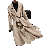 Spring Autumn Jacket Women Coat Korean Alpaca Wool Coat Female Jacket Vintage Double Side Woolen Coats Long Women Tops ZT1701