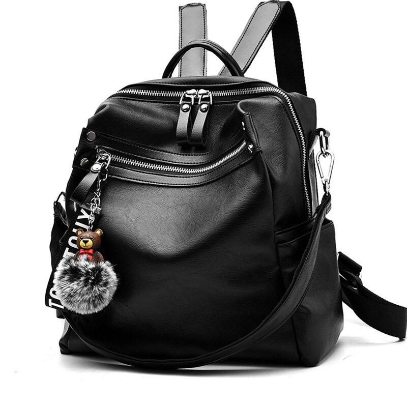 Femmes sac à dos en cuir femmes sac école sacs à dos pour adolescente filles fermeture éclair cheveux boule pendentif voyage Mochila grande capacité nouveau