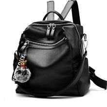 цена на Women Backpack Leather Women Bag School Backpacks For Teenager Girls Zipper Hair Ball Pendant Travel Mochila Large Capacity New