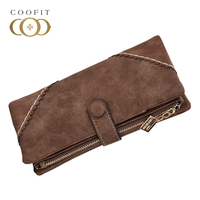 Coofit Womens Multiple Slots PU Leather Wallet Female Trifold Wallets Long Bussinese Credit Card Holder Wallet