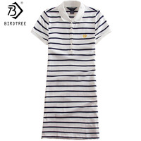 2017 Embroidery Striped Polo Print Casual De Festa T Shirt Femme Summer Sexy Club Robe