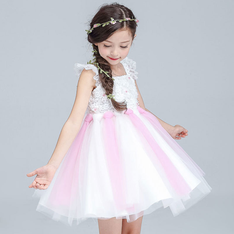 Birthday Party Baby Girl Braces Dress Children Sleeveless Dance Tulle Tutu Dress Suspender Clothing Performance Rainbow Vestido