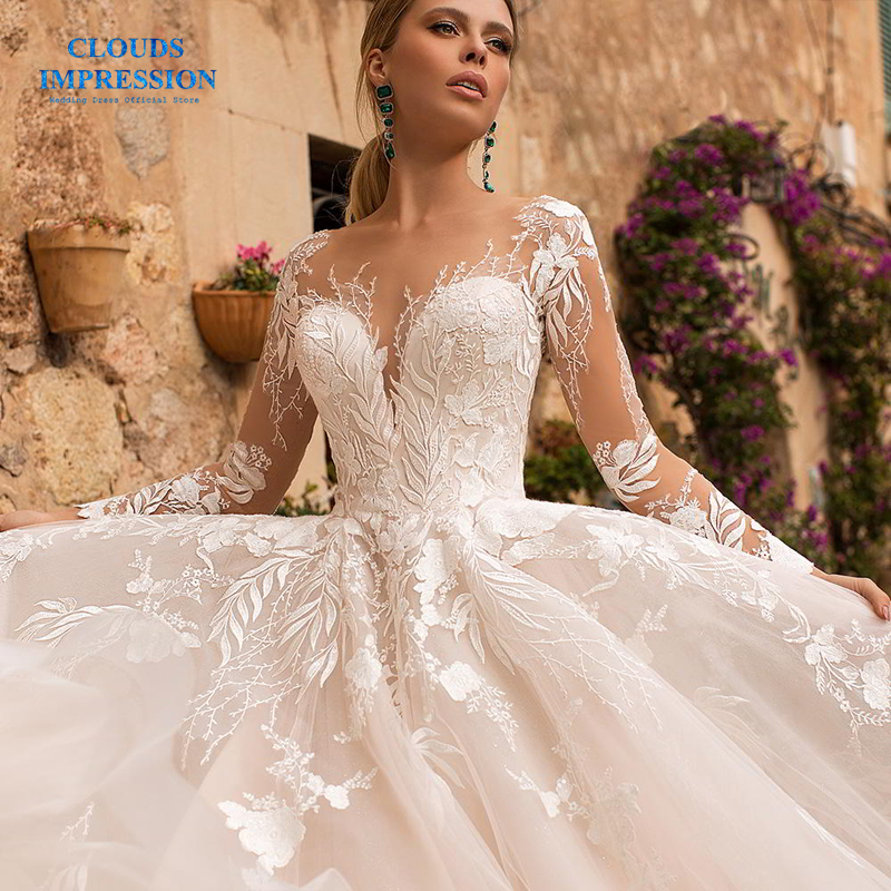 CLOUDS IMPRESSION Sexy Long Sleeves Elegant BOHO Lace Appliques Wedding Dress 2019 Vestido De Novia White
