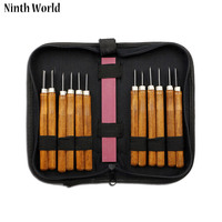 Ninth World DIY Craft Tools 12pcs Set Hand Wood Carving Chisels Knife Chisel And Grindstone Wood