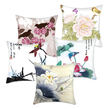 Fuwatacchi Chinese Flower and Bird Painting Printed Pillow Covers Lotus Plum Blossom Cushion for Home Sofa Chair Decors