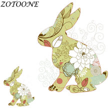 ZOTOONE DIY Easter Bunny Rabbit Iron on Patches for Clothing  Transfer Thermotransfer Clothes Animal Patch E