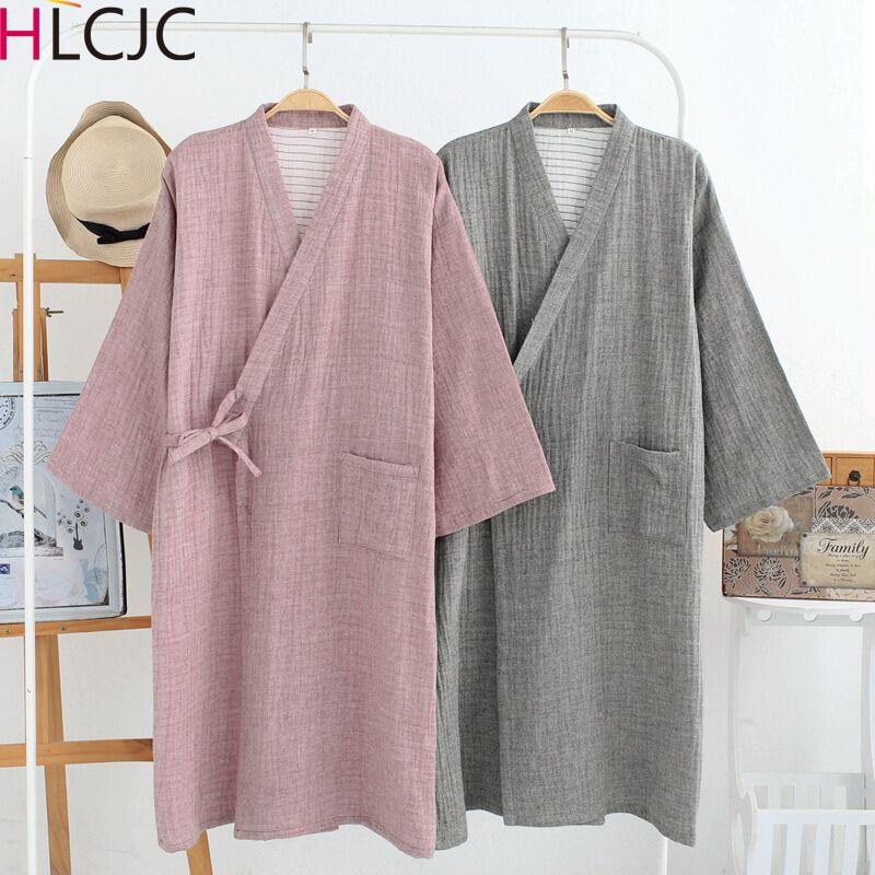 New Japanese Spring Summer Robe Yukata Men's Cotton Gauze Thin Steam Clothes Kimono Pajamas Long Cardigan Bathrobe Leisure Wear