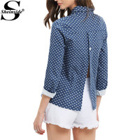 Sheinside Split Back Women Blouses Blue Lapel Hearts Print Front Button Up Sexy Tops 2017 Fashion