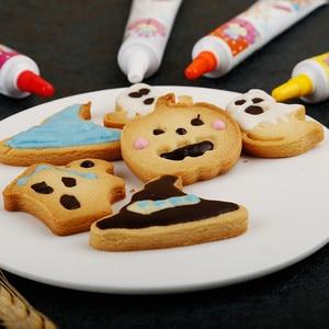 Image 5 - Do pieczenia 4 sztuk motyw Halloween tłok foremka do ciasteczek do plastikowa foremka do ciasteczek pieczęć na herbatniki formy narzędzie do lukru narzędzia do pieczenia ciasta