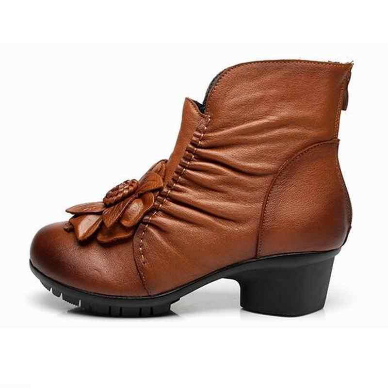 2020 yeni bahar sonbahar orijinal el yapımı çiçekler moda çizmeler Retro İlk katman inek derisi deri çizmeler kadın ayakkabıları yarım çizmeler