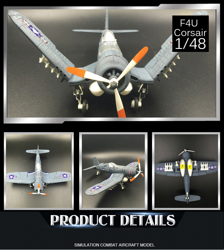 2017 New 4D Model Plastic Aircraft Model 1/48 US NAVY F4U Corsair Fighter playmobile brinquedos toys for children boys