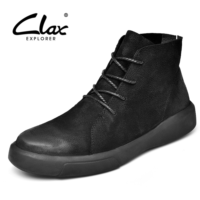 CLAX Mens Boots Fashion Casual Leather Shoe High Top Genuine Leather desert boot Male chaussure homme