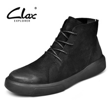 CLAX Mens Boots Fashion Casual Leather Shoe High Top Genuine desert boot Male chaussure homme Big Size