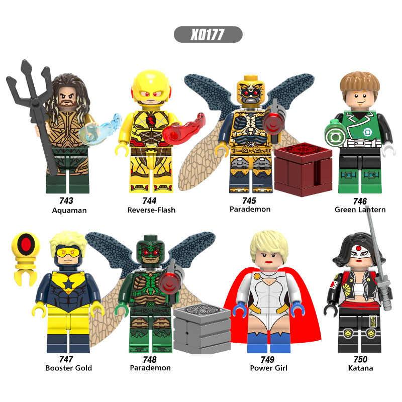 Venta única Super Héroes aquamán Flash reverso paraddemon Linterna Verde Booster oro bloques de construcción niños juguetes de regalo