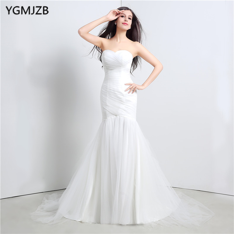 Plus Size White Wedding Dresses Long 2019 Mermaid Sweetheart Sleeveless Lace Up Wedding Gown Elegant Bride Dress Bridal Gown