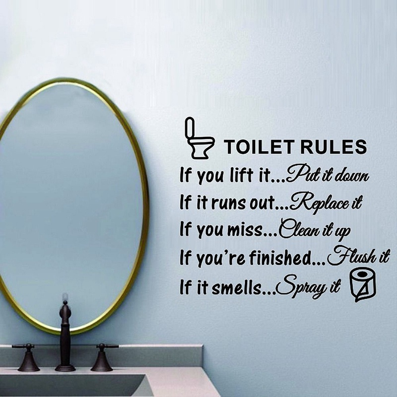 Bathroom Rules Wall Art aliexpress : buy free shipping diy removable toilet rules wall