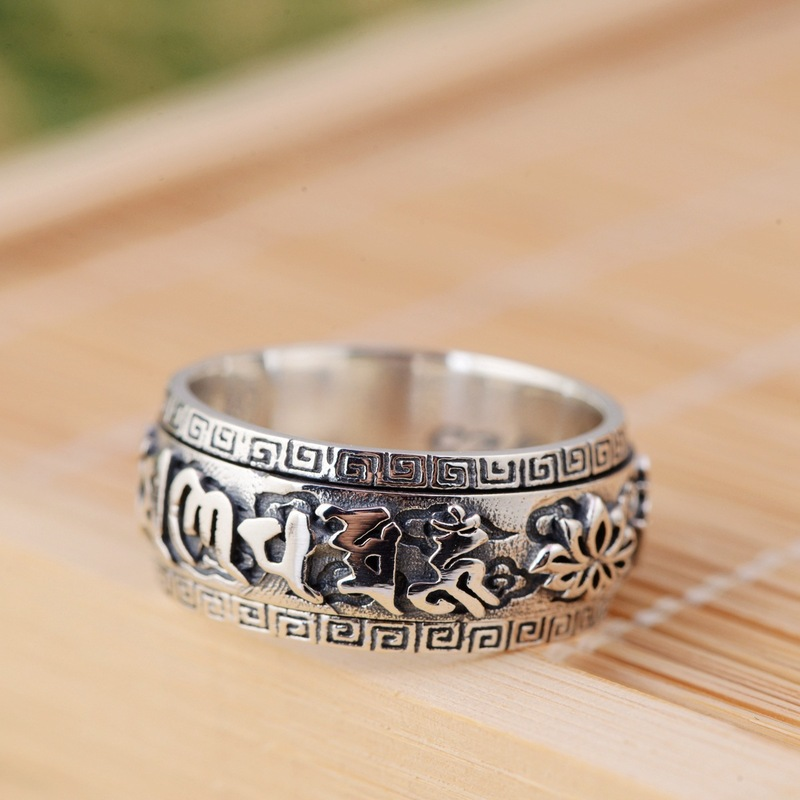 S925 silver <font><b>ring</b></font> wholesale archaize process <font><b>buddhist</b></font> text six words rotating <font><b>rings</b></font> image