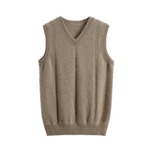Image 4 - Cashmere sweater mens V collar winter  vest fashion youth business casual knitted sweater coat brand