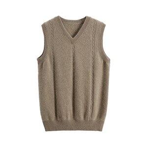 Image 4 - เสื้อกันหนาวผู้ชาย V คอฤดูหนาวเสื้อกั๊กแฟชั่นธุรกิจเยาวชนสบายๆถักเสื้อกันหนาวยี่ห้อ