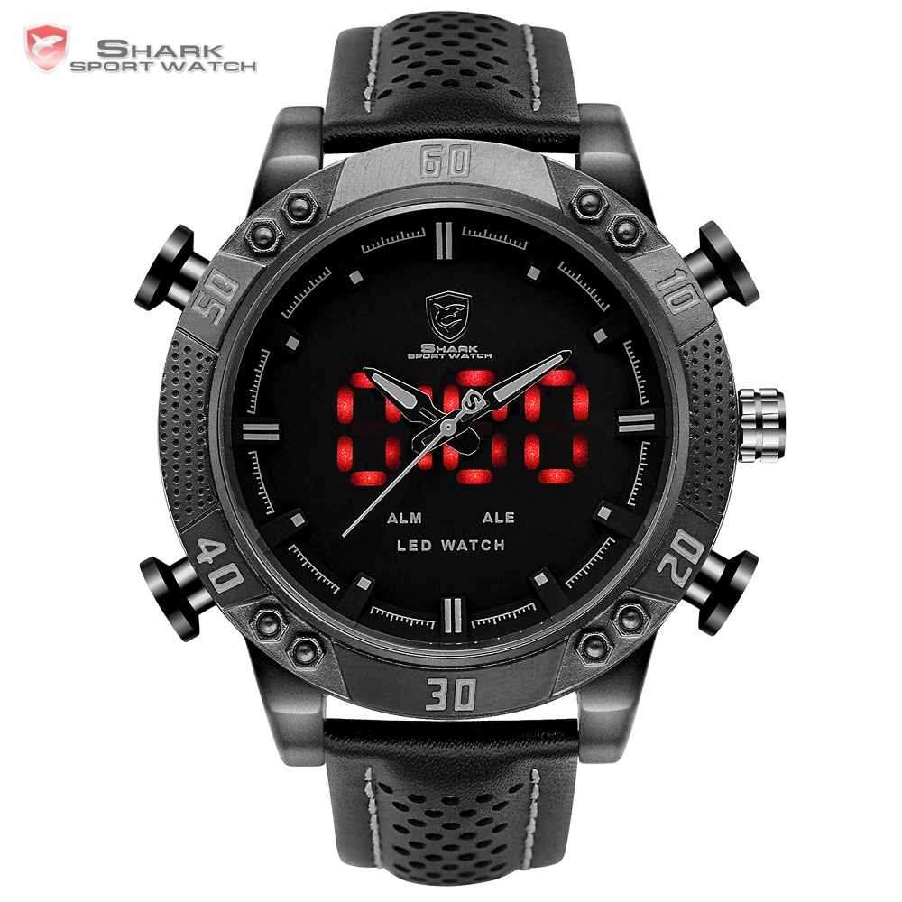 Kitefin Shark Sport Watch Black Dual Time Zone LED Display Quartz Analog Digital Alarm Leather Waterproof Mens Wristwatch /SH262 sawback angel shark sport watch mens black yellow digital dual movement 3d logo steel case led watches leather wristwatch sh204