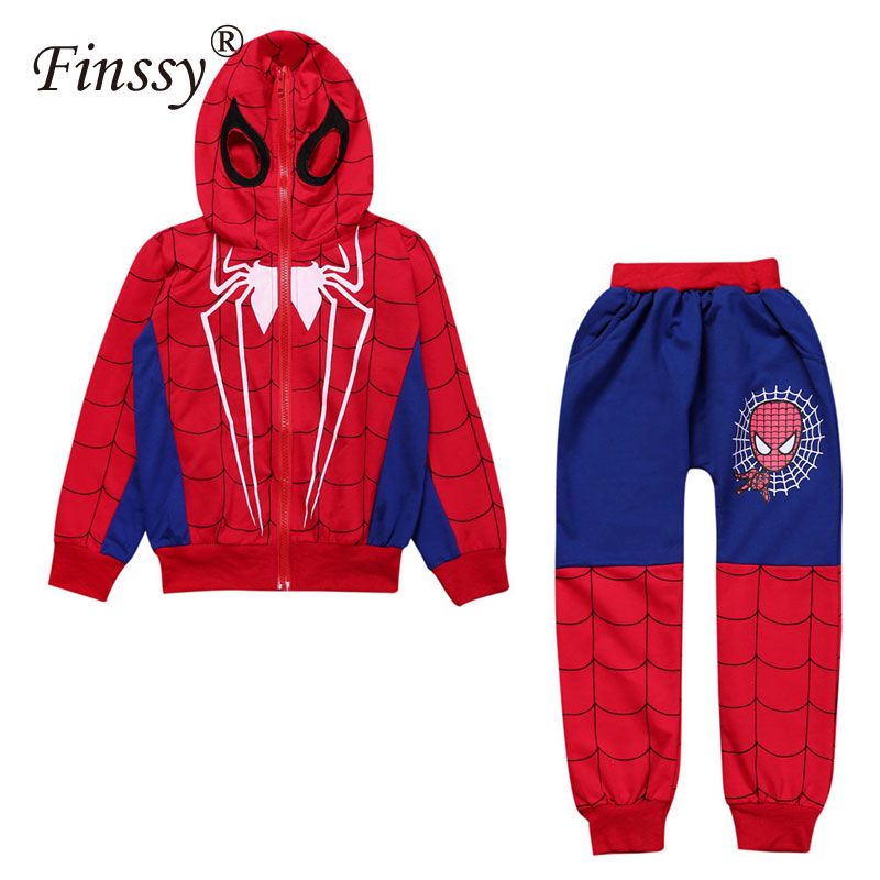 Spiderman Costume for Boys Spiderman Coat for Kids Cosplay Children Clothes Pants Halloween Costume for Kids Dress Black Blue