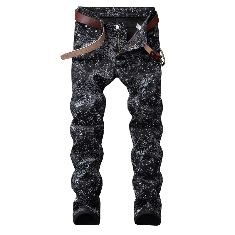 Sokotoo Men's slim black printed   jeans   Fashion stretch pencil pants