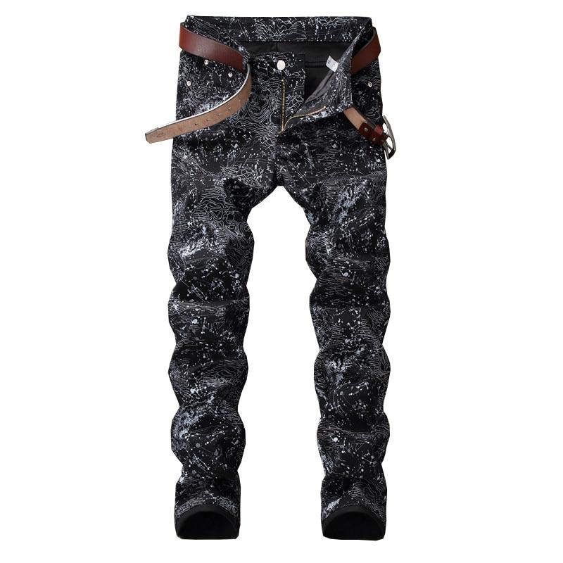 Sokotoo Men's slim black printed jeans Fashion stretch pencil pants