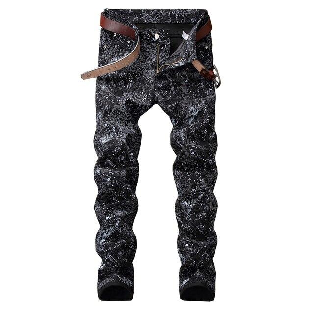 Sokotoo męska slim, czarny dżinsy z nadrukami moda spodnie ołówkowe ze strechu