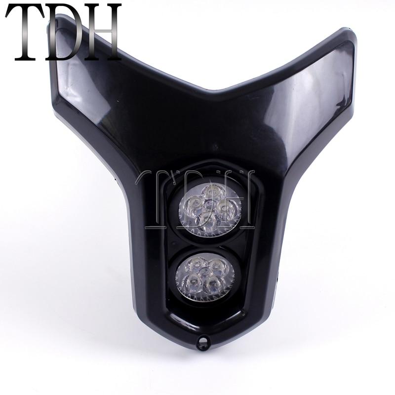 Universal Motorcycle ATV Street Dirt Bike Streetfighter Dual Twin LED Headlight Fairing Lamp Mask Headlamp Custom   - title=