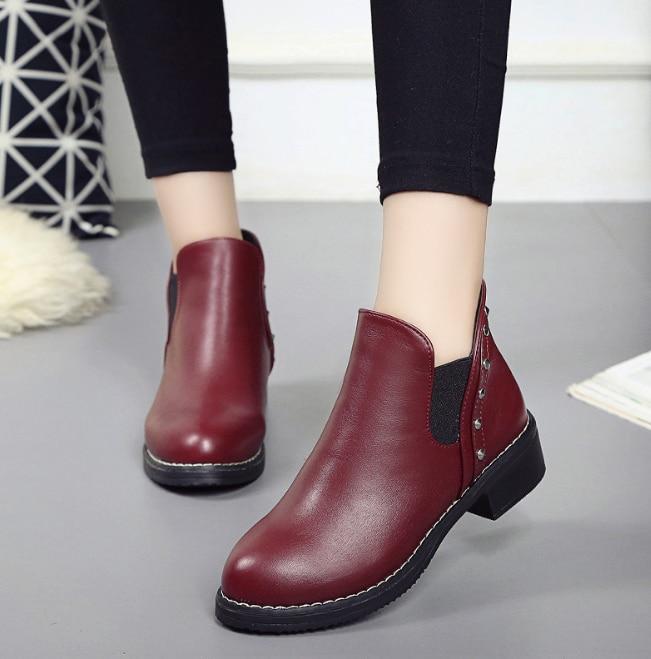 Huanqiu/Модные женские ботинки; сезон осень-зима; классические кожаные зимние ботильоны; зимняя замшевая женская обувь; ZLL527