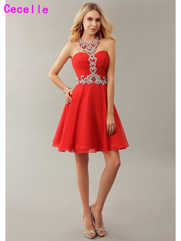 Sexy Red A line Sparkle Chiffon Short   Cocktail     Dresses   For Teens Beaded Halter Girls   Cocktail   Party   Dresses   Robe De   Cocktail