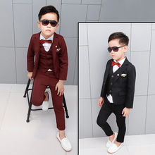 New Design Flower Boys Wedding Suit 3PCS Boys Party Christmas Costume Gentle Boys Spring Formal Clothing Set Kids Suits цена
