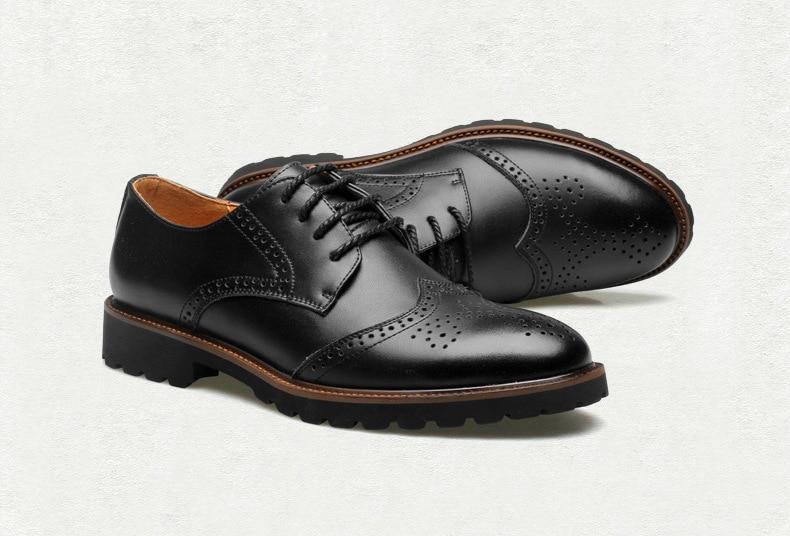 Automne Style Chaussures D'affaires Pour Brun De 2018 Britannique Nouveau Appartements Robe Sculpté Bullock 2a Hommes Lacent Richelieu Noir gWfA6q5n