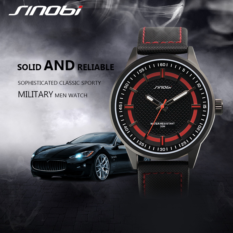 SINOBI Sport Watches for Men Leather Band Watch Men Fashion Waterproof Quartz Wristwatches 2018 Brand Relogio Masculino S9621G