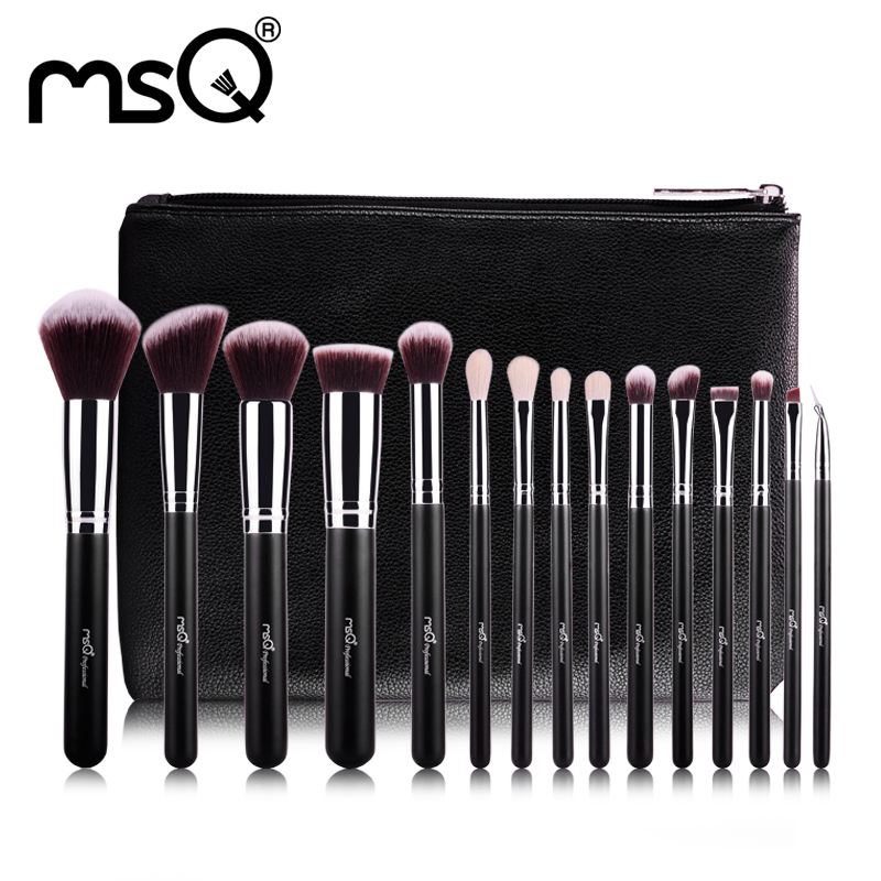 MSQ 15pcs Pro Makeup Brushes Set Powder Foundation Eye Shadow Make Up Brushes High Quality Synthetic Hair With PU Leather Case
