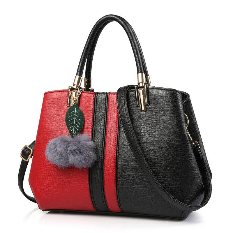 ФОТО Fashion Female Large Shoulder Messenger Bag PU Leather Handbags With Fur Ball Women Handbag Patchwork Hit Color Tote Bags