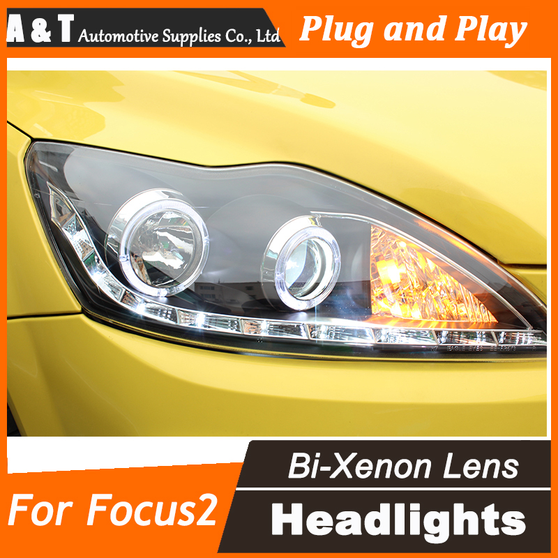 Car Styling for Ford Focus LED Headlight Focus2 Headlights DRL Lens Double Beam H7 HID Xenon bi xenon lens car styling led head lamp for ford focus2 headlights 2009 2012 focus led headlight turn signal drl h7 hid bi xenon lens low beam