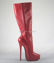 Free Shipping 20cm  High Height  Sex Boots Women's Boots Platform Stiletto Heel  Knee-High Boots No.y2011r
