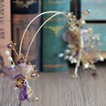 Корейский Фиолетовый Шелковый Цветок Невесты Tiara Заставки Кристалл ленты Для Волос Свадебные Аксессуары Для Волос
