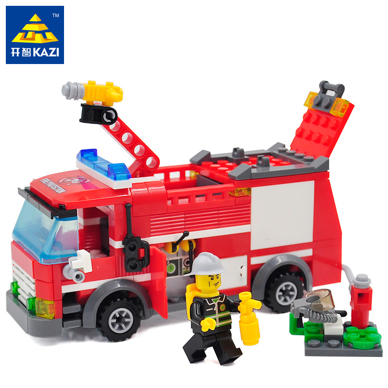 Kazi Fire Fight Series Fire Engine Building Block Sets 206+pcs Bricks Legoingly Educational DIY Construction Brick Toys for Kids 100 pcs 149 pcs magic building block magnetic toys preschool skills educational game construction stacking sets block brick
